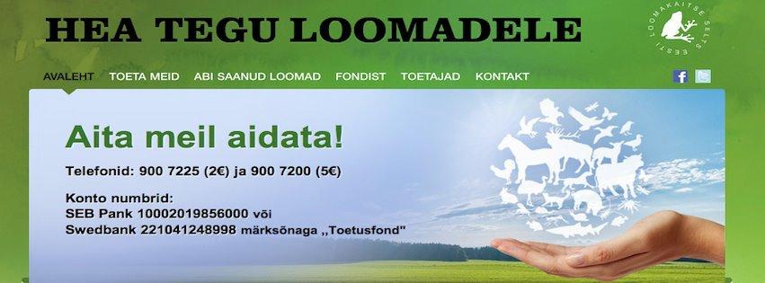 """Nüüdsest on avatud Eesti Loomakaitse Seltsi heategevusfondi """"Hea tegu loomadele"""" koduleht"""