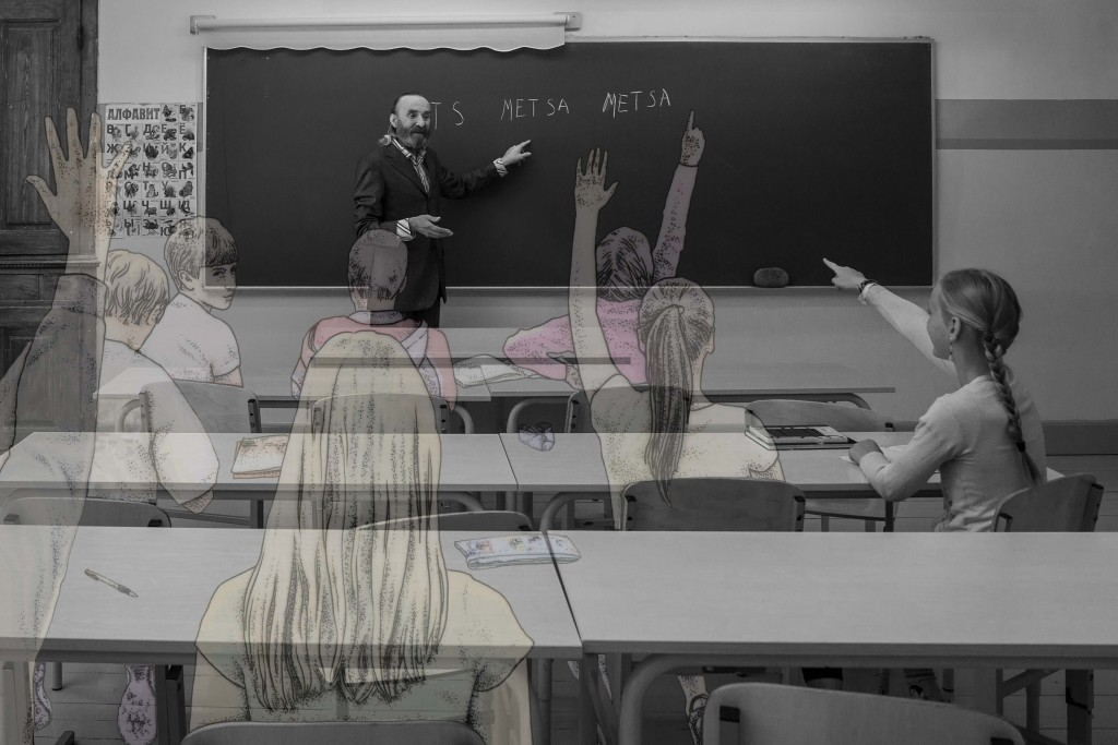 Ja jälle küsis õpetaja Gerda käest. Kellegi teise käest ei olnud ju küsida. Õnneks oli tüdruk agar õppija, vähemalt puudujate lehte ei pidanud selles klassis kunagi täitma.  Fotolavastus. Pildil Arvo Kukumägi ja Liisa