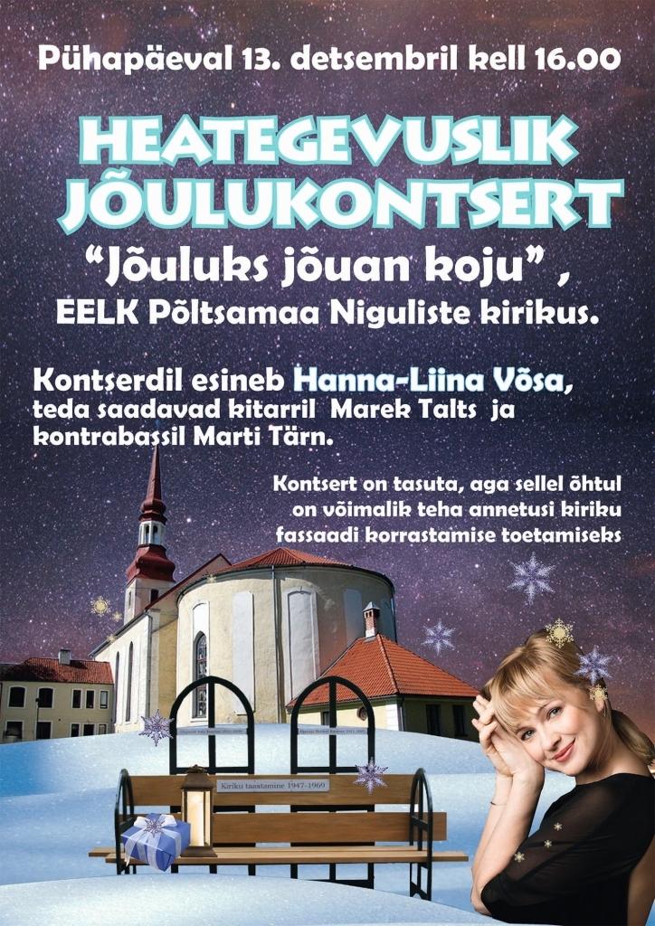 HEATEGEVUSLIK KONTSERT! Põltsamaa kiriku heategevuslikul kontserdil laulab Hanna-Liina Võsa