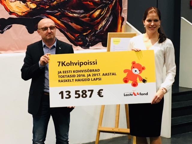 Kohvisõbrad toetasid raskelt haigeid lapsi 13 587 euroga