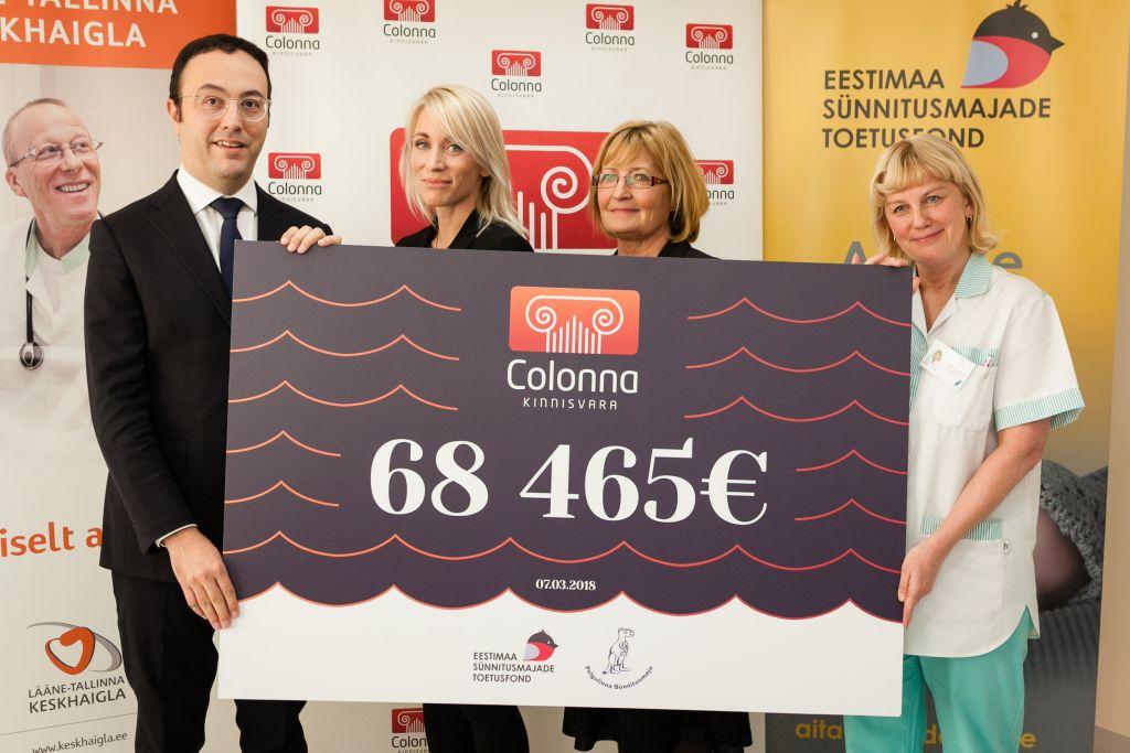 Pelgulinna Sünnitusmaja sai täna kätte ligi 70 000-eurose rekordannetus