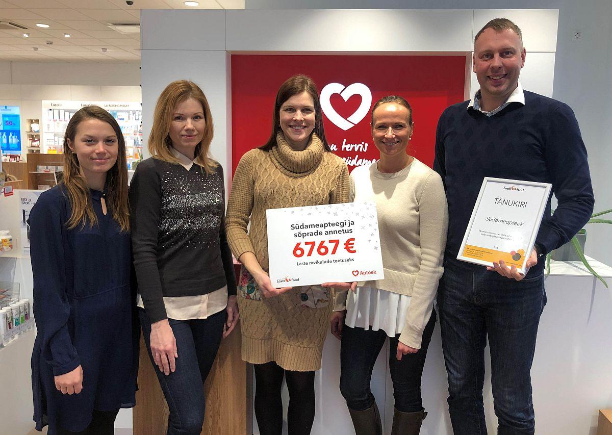 Lastefond ja Südameapteek kogusid detsembris 6767 eurot