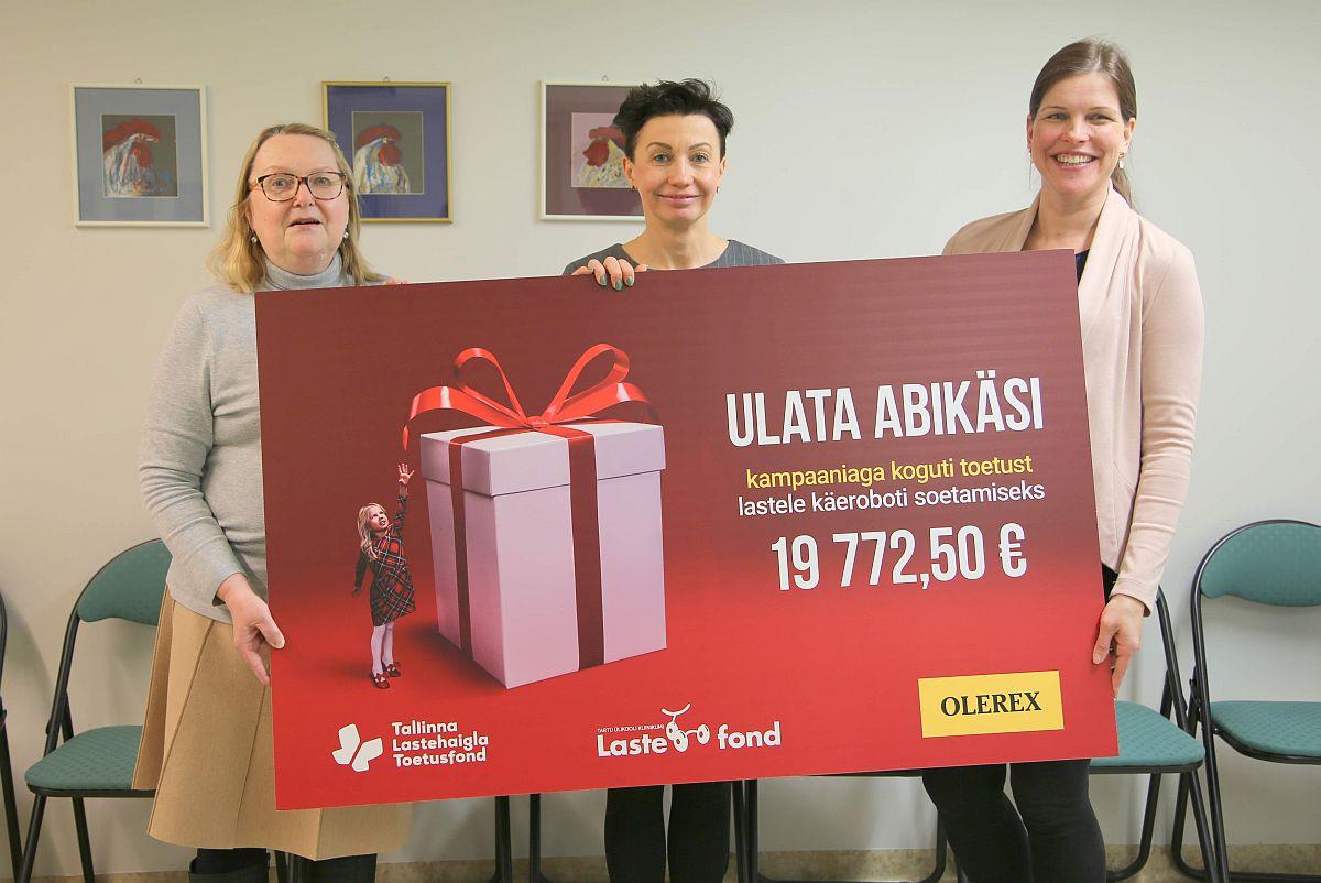 Olerexi abiga koguti ligi 20 000 eurot lastehaiglatele käerobotite soetamiseks