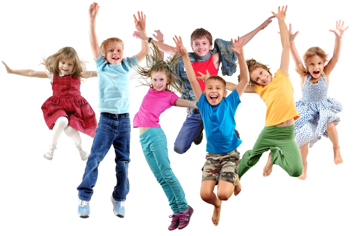 Large,Group,Of,Happy,Cheerful,Sportive,Children,Jumping,,Sporting,And